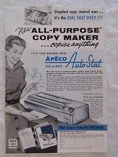1956 Magazine Advertisement Page For Apeco Dial-A-Matic Auto Stat Copier Copy Ad