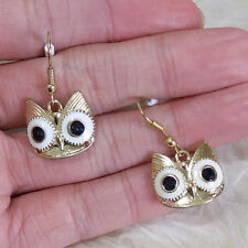 Head Charm Dangle Hook Earrings Cute Lovely Ladies Junior Light-Gold-Color Owl