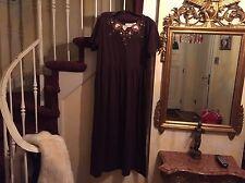 Women's BROWN FLORAL SHENANIGANS LONG FLOWY MATERNITY DRESS SIZE L
