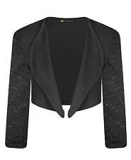 Girls Long Lace Sleeve Open Front Bolero Shrug Kids Jacket Cardigan Top 11-12 Years Black