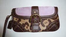 AUTHENTIC Coach Madison Ocelot Leopard Calf Hair & Lilac Suede Wristlet Wallet