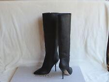 $1250 JIMMY CHOO Drape Black  Leather Knee High  Boots  Heels 38.5 / 8.5 New