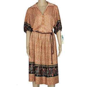 NOS 70s Vintage Peasant Hippie Boho Dress, Brown Red Black Polyester, Tags, 2X