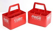 TWO Coca Cola Coke 6-bottle KING SIZE CARRIER Vintage Red Plastic D2