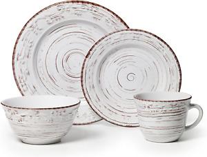 Pfaltzgraff Trellis 16-Piece Dinnerware Set, Service for 4, Distressed White
