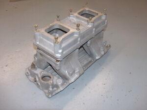 Weiand 2x4 Dual Quad BB Chevy Tunnel Ram Intake Manifold 5983 w/Plenum 1918
