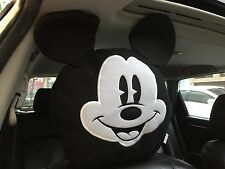 Mickey Mouse Car Accessory #1 : 1 piece Head Rest, Head Seat Cover / Black&White