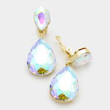 """Clip On Earrings Statement Crystal Double Teardrop Dangle Design 1.75""""L NEW"""