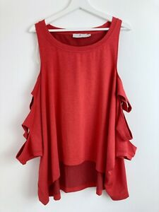 Stella McCartney X Adidas NWOT Red Cold Shoulder Oversized Cut Out Top Size S