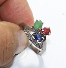 Handmade Silver Victorian Ruby Emerald Sapphire Rose Cut Diamond Ring 1940