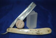 """Vintage double ground 11/16"""" straight razor w/ hand carved ocean scene on scale"""