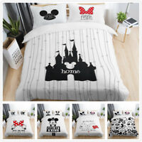 3D Disney Mickey Minnie Mouse Castle Duvet Cover Bedding Set Pillowcase White