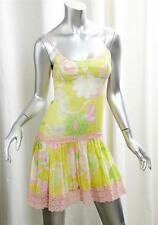 D&G DOLCE & GABBANA Womens Yellow Floral Drop Waist Mini Slip Dress 36/XXS