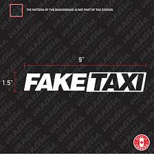 2x FAKE TAXI jdm sticker vinyl decal white