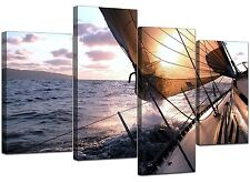 Large Blue Canvas Wall Art Pictures Yachts Sea Ocean XL Prints 4096