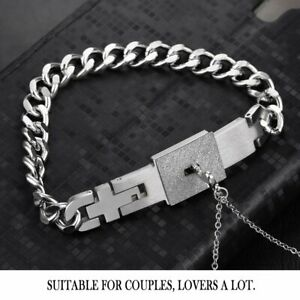 Lovers Fashion Key Necklace And Lock Bracelet Couple Valentines Gifts Silver GN