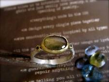 18K yellow gold & sterling silver ring with Tourmaline & Black Diamond.Handmade