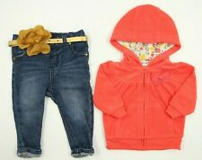 Multi Brand Baby Girls 3 Piece Jeans Hoodie Belt Outfit Set Size 3-6 Months