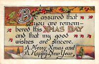 Merry Christmas Xmas Day 1910 Postcard Holly Pine Trees