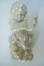 "Shiny Nude Baby Angel Playing Music  Figurine 5"" Tall Good Condition #1"