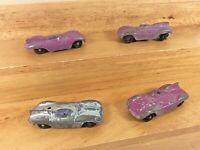 Lot of 4 Vintage Tootsie Toy Die Cast Metal Single Seat Race Cars