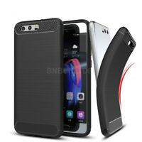 For Huawei Honor 9 Carbon Fibre Gel Case Cover & Glass Screen Protector