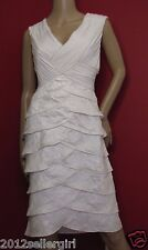 ADRIANNA PAPELL WHITE IVORY SATIN BEADED TIERED KNEE COCKTAIL FORMAL DRESS SZ 12