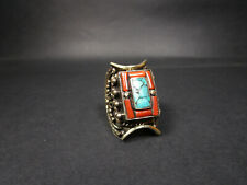 R326 TIBETAN Glass Tribal Ethnic Handmade saddle Ring Size 8.25 Nepal Jewelry