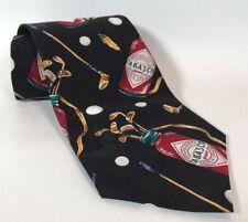 TABASCO MEN'S NECKTIE PEPPER SAUCE GOLF BLACK BACKGROUND 100% Silk Men,s TIE