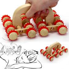 1pc 16 Rolling Wooden Back Roller Wood Wheel Body Massager Reflexology Stress
