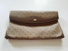 Gucci Vintage Rare Clutch Bag Purse Monogram Accessory Collection Brown Tan