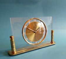 German Mauthe Mantel Clock Modernist Bauhaus Solid Brass Desk Table Clock 50's