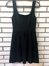 Madewell Ponte Knit Dress Fit & Flare Sleeveless Black Polka Dots Size XS