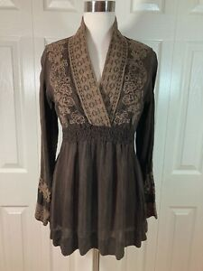 JOHNNY WAS Size SMALL Brown Embroidered Crinkle Smock Long Sleeve Tunic Top