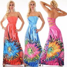 Bandeau MAXI KLEID LANG SOMMER BEACH COCKTAIL PARTY STRAND Blume S/M L/XL