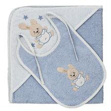 Harwoods Bunny Baby Bib & Cuddle Robe Hooded Baby Towel Set, Blue