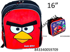 "Angry Birds  Large School  Backpack 16"" With Insulated Lunch SET-9709/0880"