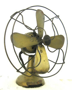"Antique Emerson 8"" Northwind 44B AC/DC Vintage Electric Fan Brass Color"