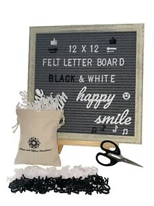Felt Letter Board 12 x 12 Rustic Wood Frame, 320 Black&White Changeable