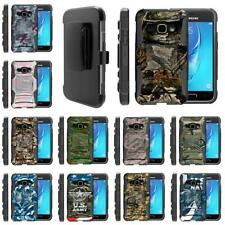 For Samsung Galaxy J Series Phone Hybrid Holster Belt Clip Armor Camo Case Cover