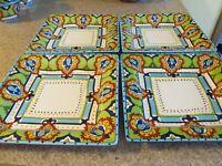 "SET OF 4 -Espana BOCCA Blue Lifestyle DINNER PLATE Mediterranean Square 10 3/4"""