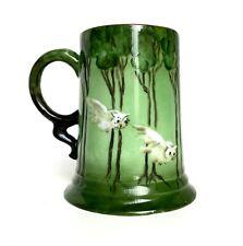 Antique Rosenthal Bavaria Tankard Beer Mug Flying Owls 1912 Hand Painted Rare