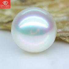 AAA 11-12 mm natural  round south sea white  loose pearl half drilled