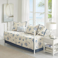 Beautiful Beach Blue Shell Sea White Daybed Day Bed Quilt Bedding Cover Set