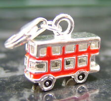 London bus clip on charm -  Silver plated red enamel