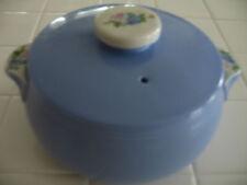 Vintage Hall Cadet Blue Rose Parade Covered Casserole Dish Bean Pot