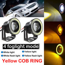 "3"" Multimode Yellow LED COB Fog Light Lamp Projector Bulb DRL Angel Eyes Halo"