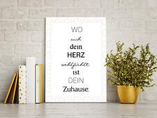 Wandbild DIN A4 Dekoschild Spruch Wo sich dein Herz wohlfühlt ist dein Zuhause