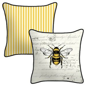 """Bumble Bee 2 Reversible Outdoor Patio Toss Pillows 16"""" UV Resistant Pinstripe"""