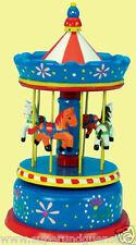 MMM Musik Spieldose Spieluhr Großes Karussell Holzkarussell blau beweglich 44039
